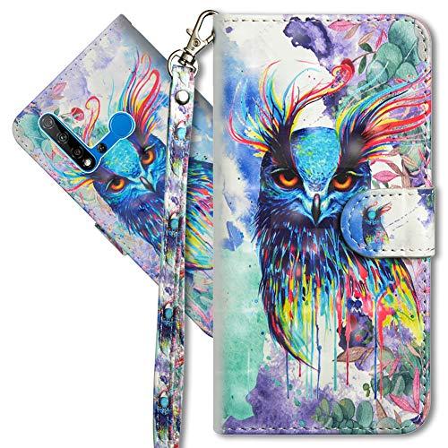 MRSTER Honor 20 Lite Handytasche, Leder Schutzhülle Brieftasche Hülle Flip Hülle 3D Muster Cover mit Kartenfach Magnet Tasche Handyhüllen für Huawei Honor 20 Lite. YX 3D - Colorful Owl