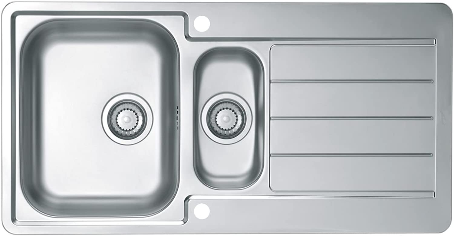 Alveus 18 10?Stainless Steel Inset Sink with Strainer, TT Reversible, 10?inches, 1?Piece, 98?x 50?cm 1068473