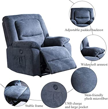 USSerenaY Overstuffed Electric Recliner Chair - Microfiber Recliner Chair - Recliners with Massage and Heat - Reclining Sofa