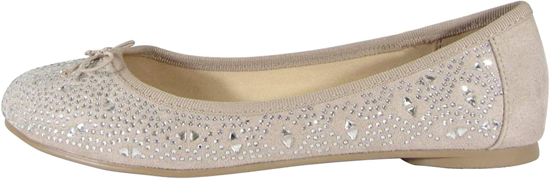 Cambridge Select Women's Closed Round Toe Rhinestone Crystal Bow Slip-On Ballet Flat
