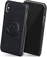 iPhone11 ケース PUレザー スリム 薄型 シンプル ニコ スマイル かわいい Qi対応 カバー ブラック 「 ニコレザー 」 iPhone11,1.ブラック