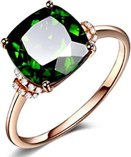 Princess Square Rings of 18K Rose Gold Plated Inlay Emearld Green Cubic Zircon CZ Crystal Bands for Women Girls Engagement
