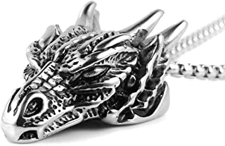 "HZMAN Stainless Steel Dragon Head Pendant Necklace for Men Women Vintage Gothic 22+2"" Chain"