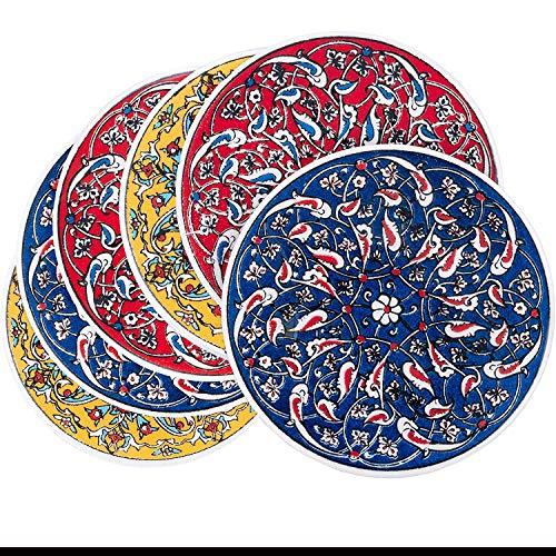 Set di sottobicchieri in ceramica Premium 6 pezzi di Bascuda | Adatto per vari tipi di bicchieri e tazze | Design decorativo di piastrelle in ceramica | Per cucina, soggiorno, scrivania