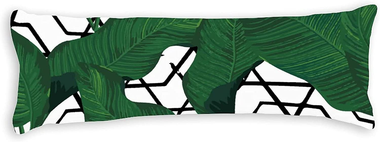 PotteLove Polyester Max 48% OFF Body Pillow Leaves Case Tropical Comfortable Max 87% OFF