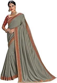 Grey Designer Evening Party wear Satin Silk Saree Sari Blouse piece Women Indian Ethnic dress 7974