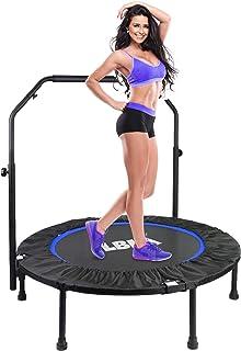 LBLA Fitness Studsmatta för vuxna, vikbar studsmatta med justerbar ledstång, studsträning för barn barn, bästa aerobisk tr...