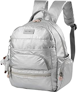 G S Nylon Large Waterproof Backpack for School Travel,Lightweight Casual Sports Daypack for Women(Silver)