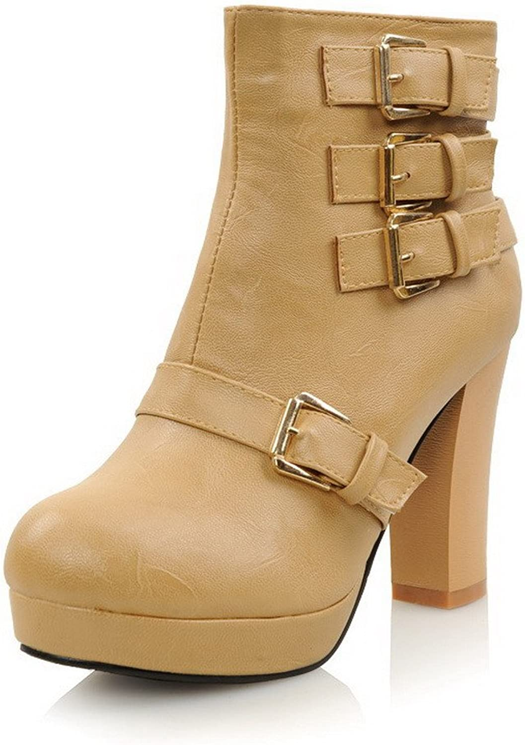 WeenFashion Women's Import PU Velvet Lining High Chunky Heels Solid Ankle Boots with Metal Buckles