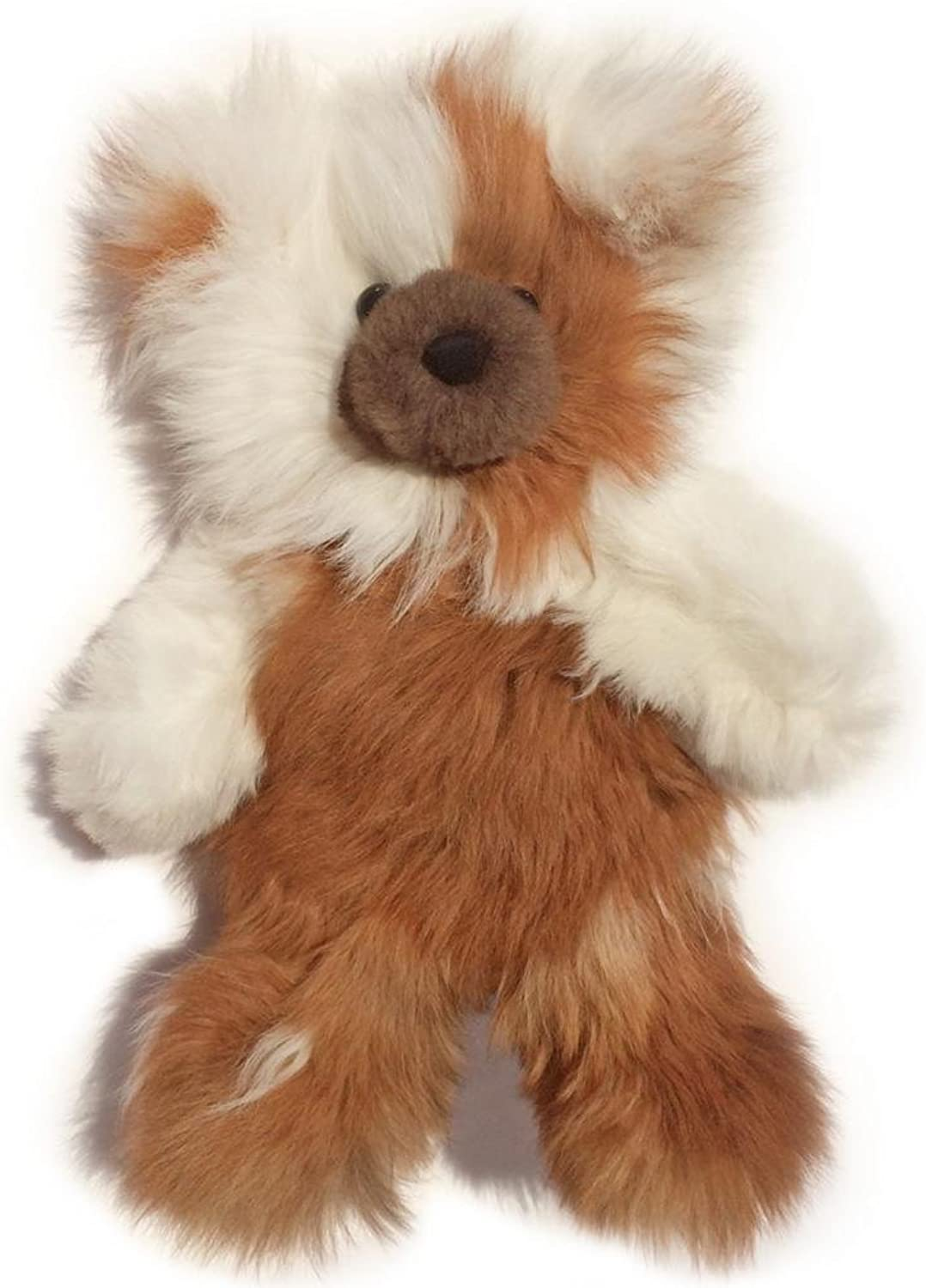 Baby Alpaca Fur Teddy Bear  Hand Made 12 Inch Multi colord  Honey   White