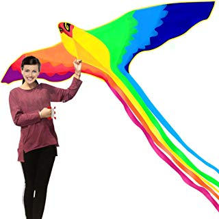HENGDA KITE-Strong Phoenix with Long Colorful Tail!Huge Beginner Phoenix Kites for Kids and Adults 74-Inch Come with String and Handle