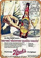 Shimaier 壁の装飾 メタルサイン 1957 Stroh'S Bohemian Beer ウォールアート バー カフェ 縦30×横40cm ヴィンテージ風 メタルプレート ブリキ 看板