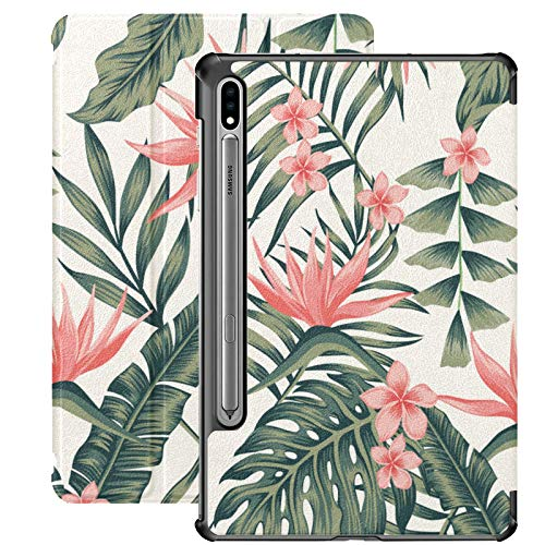 Palm Tropical Cheerful Leaves Funda Galaxy Tab A para Samsung Galaxy Tab S7 / s7 Plus Fundas Samsung Galaxy Tab A Funda Trasera con Soporte Funda Galaxy Tab S7 Plus 2020 para Galaxy Tab S7 11 Pulgada