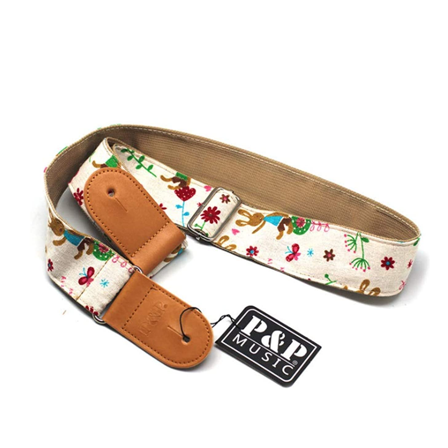 Guitar Strap Adjustable Length 2 Layer Woven Cotton Soft Guitar Strap with Leather Ends for Men Women Kids Electric Acoustic and Bass Guitars 50X137CM Electric Guitar Shoulder Strap
