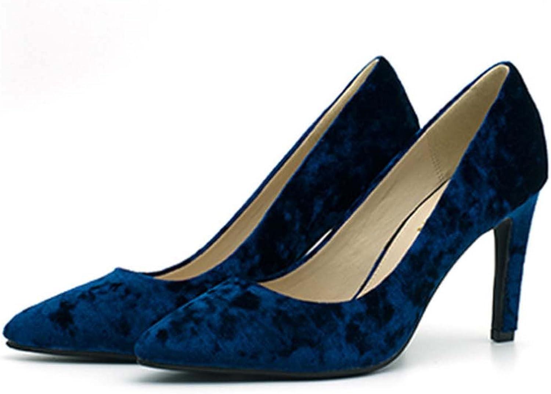 GONGFF Wildleder Damenschuhe Einzelne Schuhe Feine Ferse Schuhe Pendler Schuhe