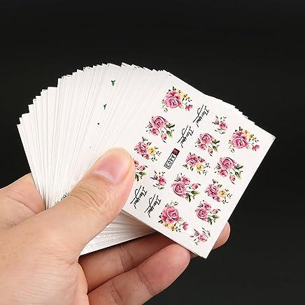 50 láminas de transferencia con agua para decoración de uñas, varios diseños mezclados, uñas artísticas