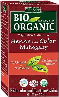 Indus Valley Bio Organic Natural Mahogany Henna Hair Color For Grey Hairs -100gm (Mahogany)