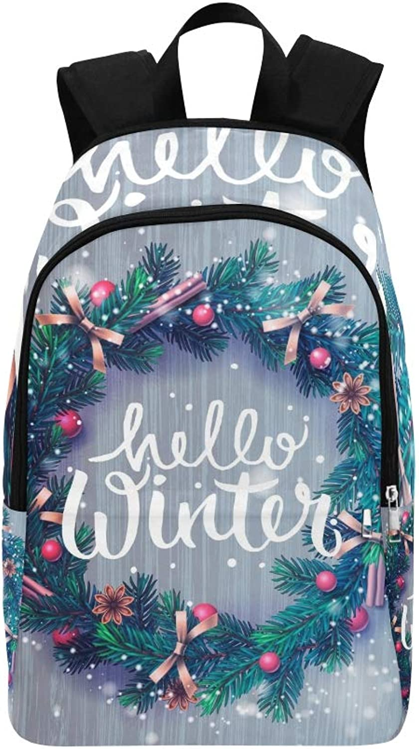Hello Winter Lettering Christmas Decoration Wreath Casual Daypack Travel Bag College School Backpack for Mens and Women