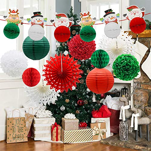 Christmas Themed Party Decorations Supplies Includes Xmas Deer Snowman Santa Claus Honeycomb Balls Banner, Paper Snowflake Fans, Paper Lanterns, Pom Poms Flowers for New Years Eve Party Decor Birthday