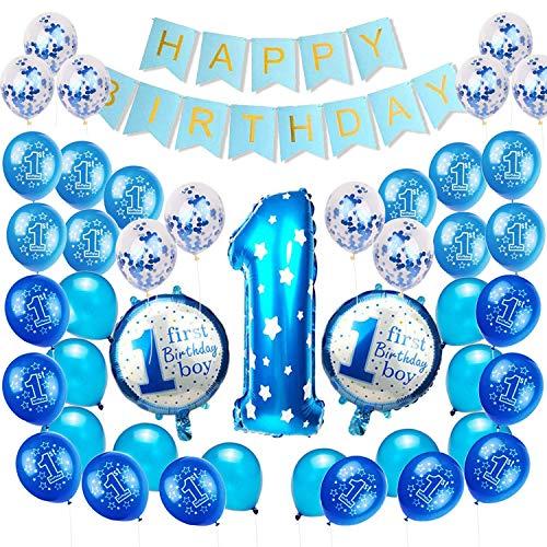 Happylohas Primo Compleanno Bimbo, Palloncini Compleanno 1 Anno, Palloncini Compleanno, Decorazioni Compleanno, addobbi Compleanno, Palloncini Elio (Ragazzo Anniversario(Blu))
