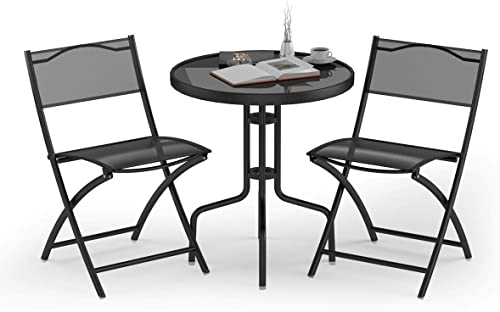 lowest Giantex 3 online Pcs Bistro Set Garden Backyard Round Table Folding Chairs, with Rust-Proof Steel Frames & 2021 Reinforced Glass Design Outdoor Patio Furniture, Black outlet sale