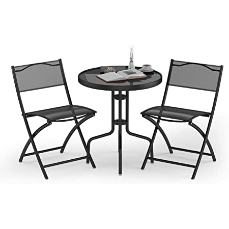 vidaXL 3 Piece Folding Bistro Set Balcony Set Patio Dining Furniture Bistro Tables and Chair Pub Table Outdoor Dining Set Durable Plastic White