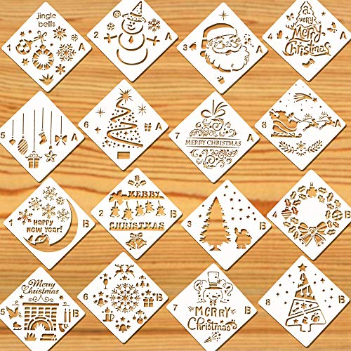 Konsait 16Pack Christmas Stencils Templates, Reusable Plastic Craft Drawing Painting Template, Xmas Stencils for Greeting Cards, Albums,Scrapbook, Notebook, Journal, Wall Art Wood, Face Cookie Decor
