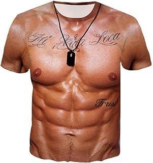 Xmiral T-Shirt Top Camicetta Uomo Manica Corta da Allenamento Fitness 3D con Stampa Muscolare Divertente