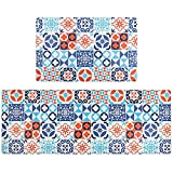 Pauwer Anti Fatigue Kitchen Rug Set 2 Piece Non Slip Cushioned Kitchen Floor Mat Waterproof Comfort...