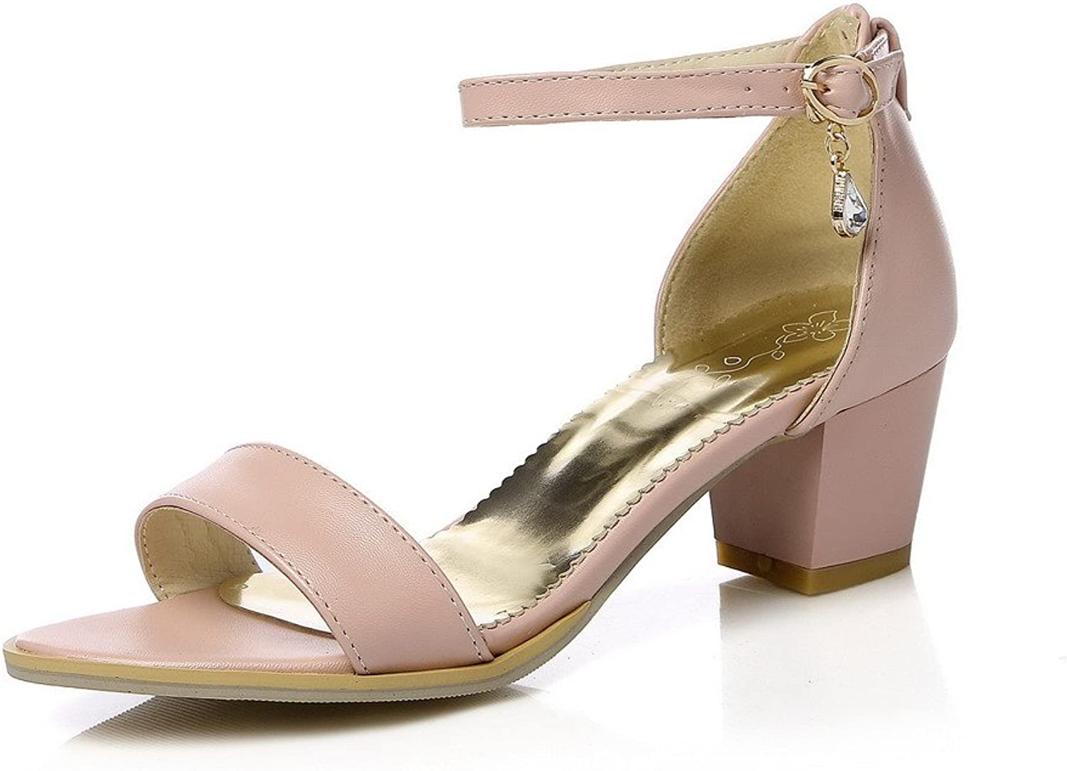 WeenFashion Women's Kitten-Heels Soft Material Solid Buckle Open Toe Sandals with Crystals