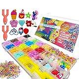 (32 Griglie) Elastici per Braccialetti, Kit Elastici per braccialetti, kit braccialetti fai da te,telaio per braccialetti elastici,23 Colori Rubber Band+Perline+Ciondoli+Lettere+Gancio a forma di S