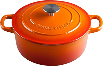 EDGING CASTING Enameled Cast Iron Covered Dutch Oven with Dual Handle, 3.5 Quart, Orange