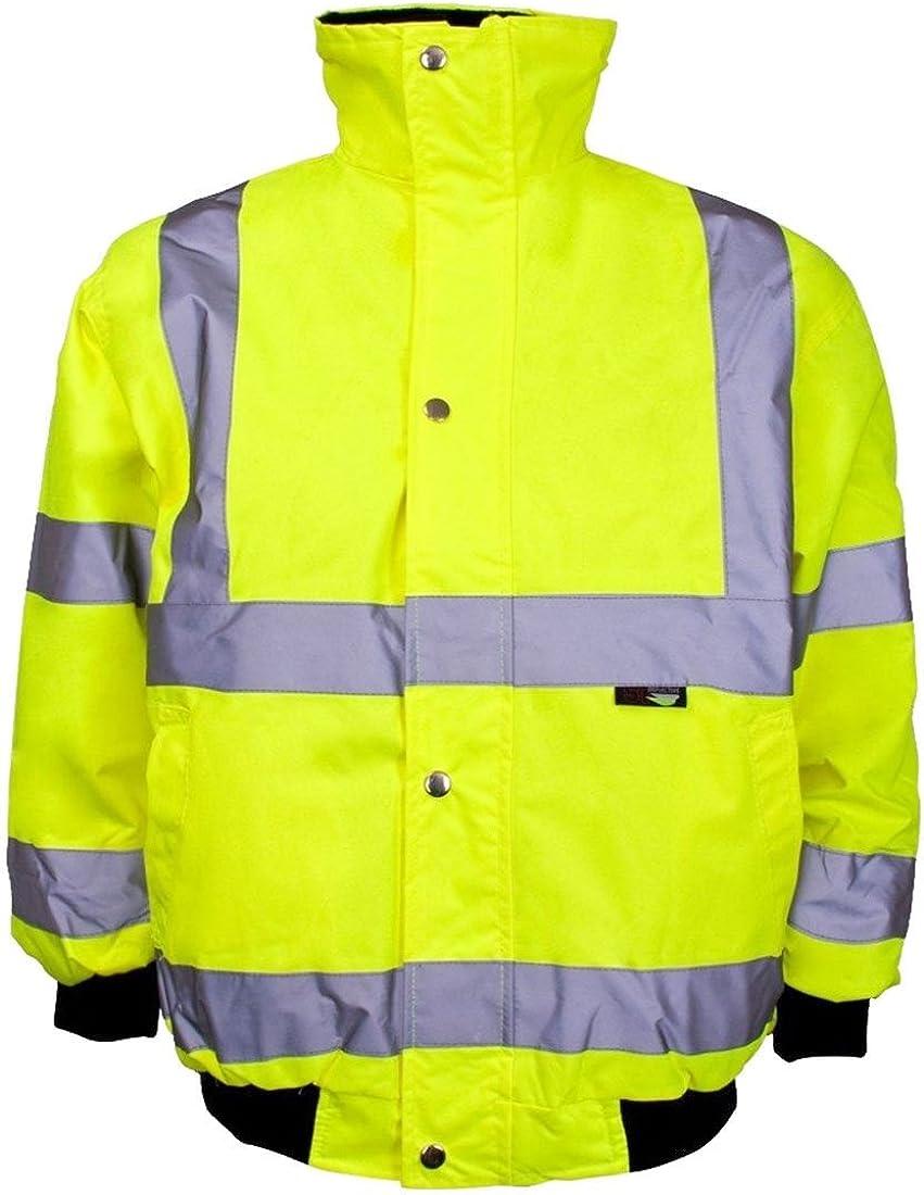 Rimi Hanger Mens High Visibility Warm Bomber Jacket Adults 2 Tone Waterproof Work Wear Fancy Jacket Small/4X Large