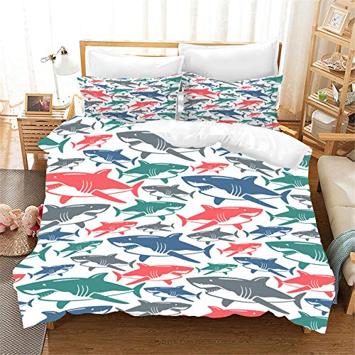 Bedclothes-Blanket Juego de Cama Matrimonio,Cubierta de Almohada 3D New Shark Four Seasons Universal-8_210 cm × 210cm