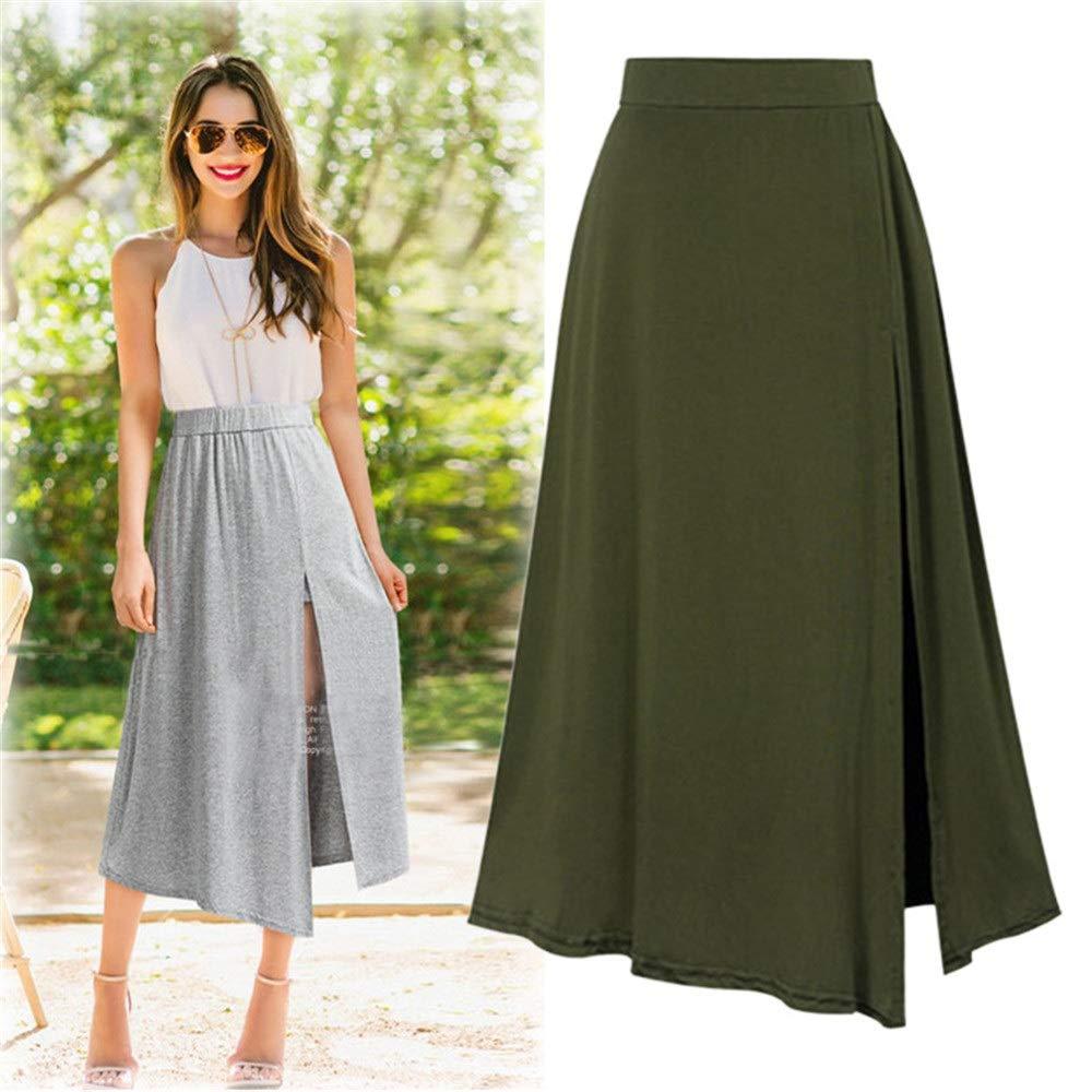 Faldas de Mujer Moda Mujer Flare Falda Color sólido Elástico ...