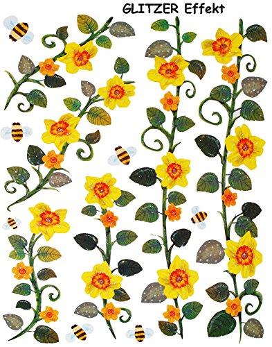 alles-meine.de GmbH 13 TLG. Set _ Glitzer Fensterbilder -  Blumenranken - Blumen gelb & Bienen  - statisch haftend - selbstklebend + wiederverwendbar / Sticker Fenstersticker A..
