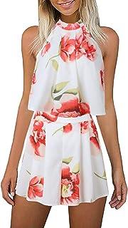 c92d40bfe LitBud Women's Floral Printed Summer Dress Romper Jumpsuits Playsuit Set  Boho Beach 2 PCS Outfits Top