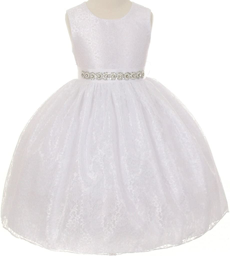 Flower Girl Cheap bargain Dress Overlay Rhinestone Belt with Max 85% OFF Lace