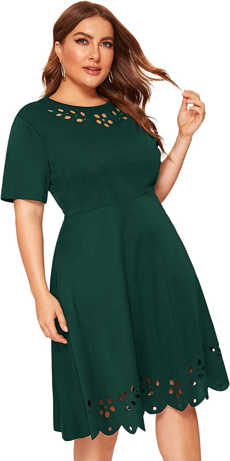 Romwe Women's Plus Size Manufacturer OFFicial Baltimore Mall shop Cut Out Dress Swing Midi A Stretchy Line
