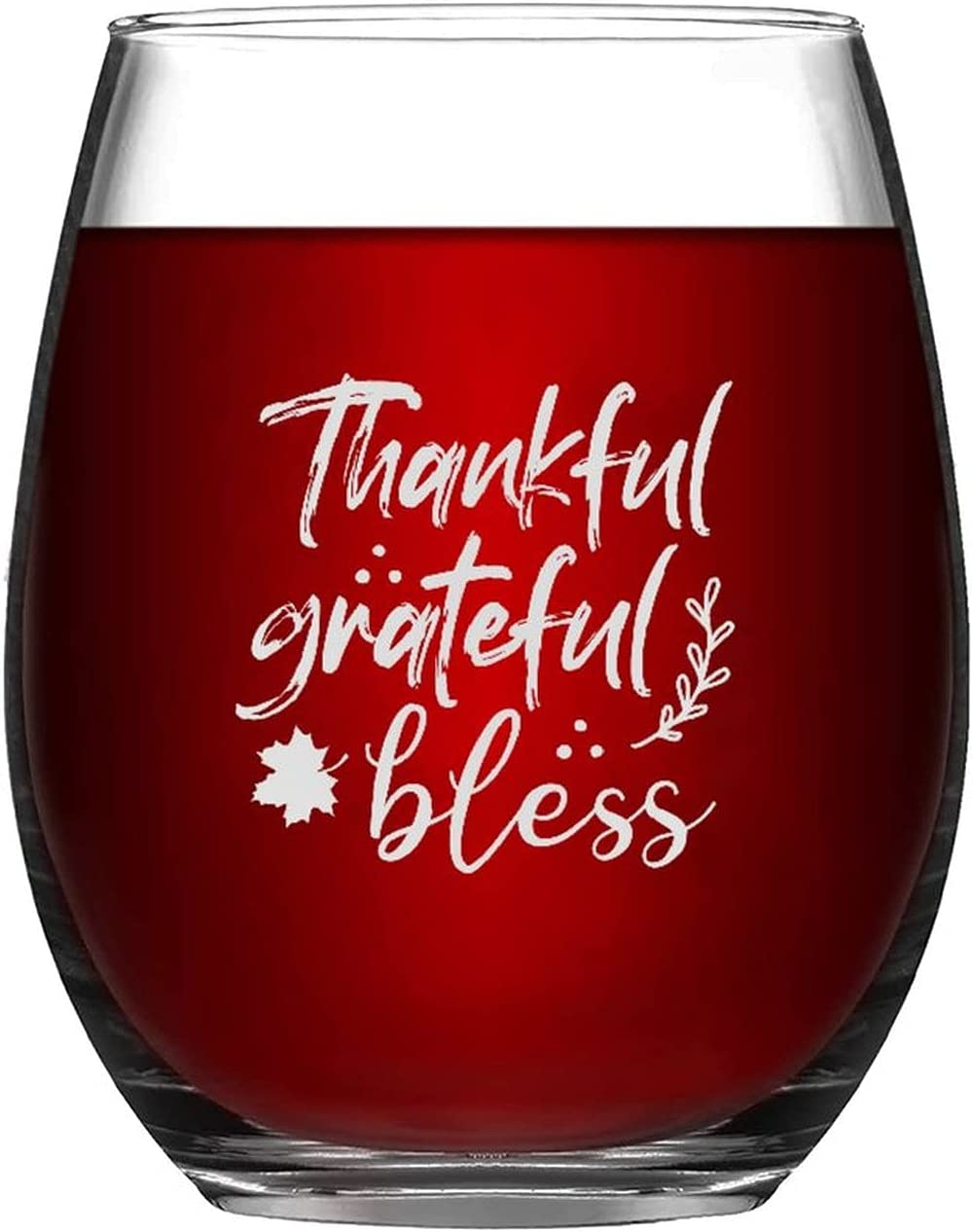 Max 90% OFF Stemless Wine Glasses Thankful Grateful Engraved Max 65% OFF Laser Bless Gla