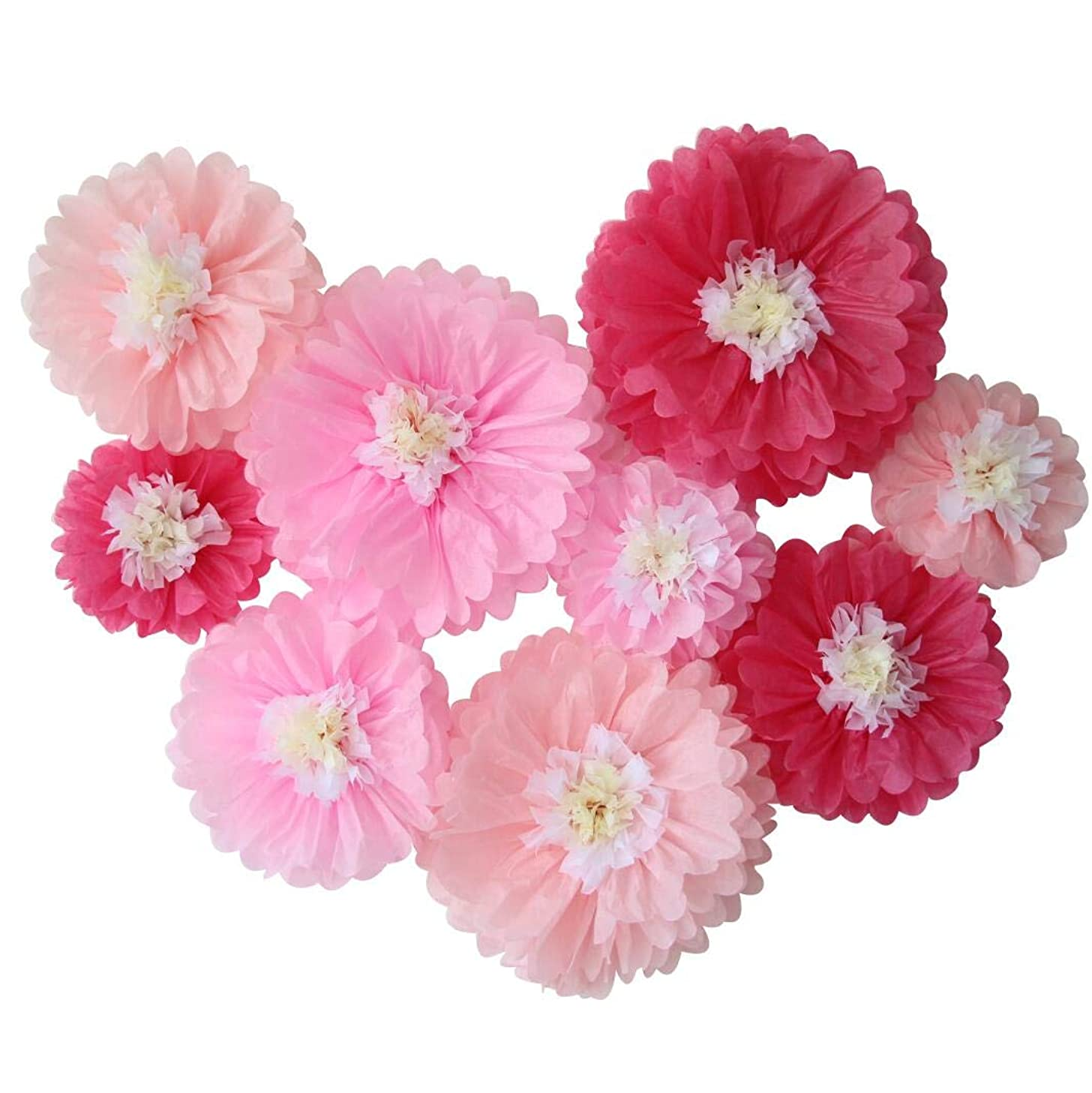 Mybbshower Pink Nursery Paper Flowers Wall Decoration Elegant Craft Eedding Backdrop Decor Pack of 9