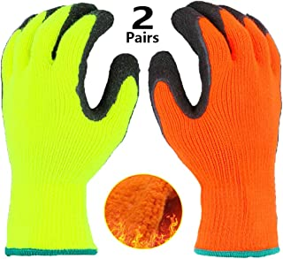 Cold Weather Thermal Work Gloves 2 Pack, Superior Grip Coating Polar Fleece Liner Insulated Comfortable for Winter Outdoor Garden Construction Ice Snow Utilities - Colorful