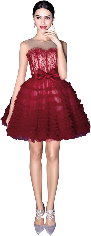 BessWedding 2016 Women's Short Sash Cap Sleeve Lace Homecoming Dresses