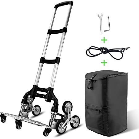 Stair Climbing Cart WOQED Heavy-Duty Hand Truck Portable Folding Cart Aluminium Luggage Cart for Moving with 6 Wheels and 4 Universal Wheels
