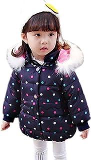 (チェリーレッド) CherryRed ベビー服 女の子 中綿ジャケット 毛襟 フード付き 水玉模様 あたっか 3色
