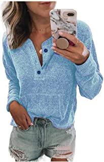 Howely Womens Oversized Button Down Long Sleeve Blouse T Shirts Shirts