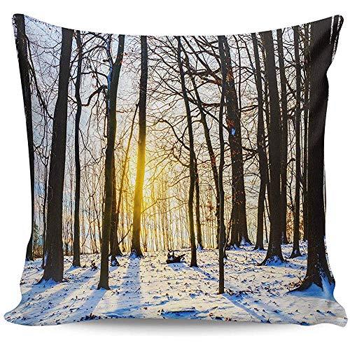 Kussensloop 45 * 45cm Home Decoration Kussensloop Winter Sneeuwbos Onder Zonsondergang Kussensloop Satijn Stof Kussensloop