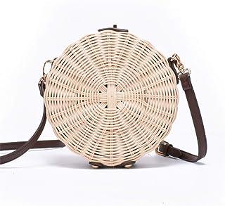 GSERA Frauen Stroh Tasche Böhmische Runde Stroh Rattan Tasche Wicker Circle Beach Handtasche Handmade Kintted Umhängetasche