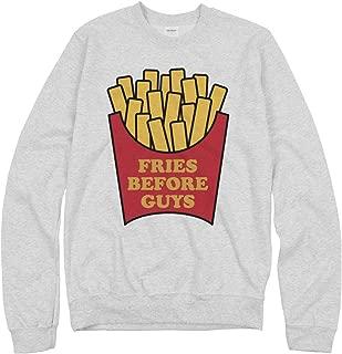 fries over guys sweatshirt