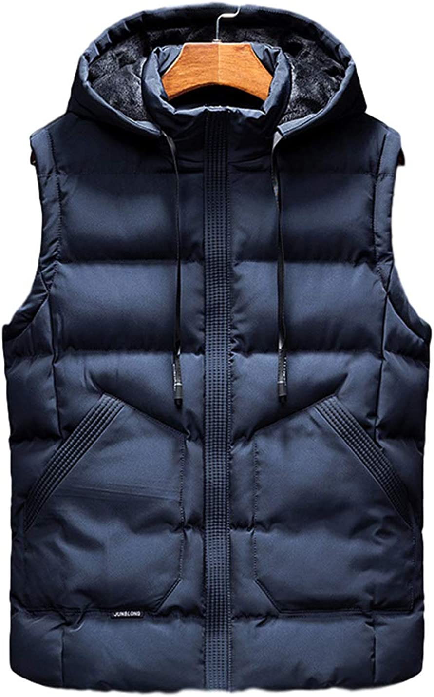 Yimoon Men's Warm Hooded Fleece Lined Sleeveless Quilted Padded Puffer Vest Gilet